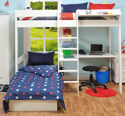 Last Years Model High Sleeper With Pull Out Chair Bed In Blue Free Mattress