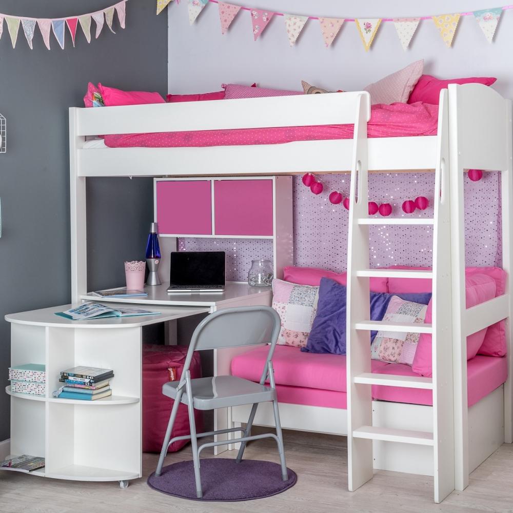 Unos25 Highsleeper With Sofa Bed In, Pink Corner Desk