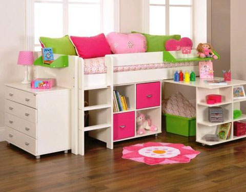 Uno 3a White Mid Sleeper Frame Pullout Desk 1 X Cube