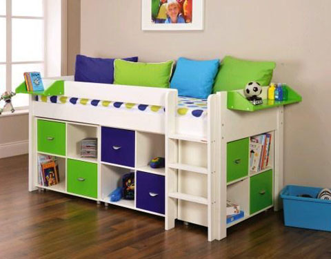 Uno 3 White Midsleeper Frame Pullout Desk 2 X Cube Units