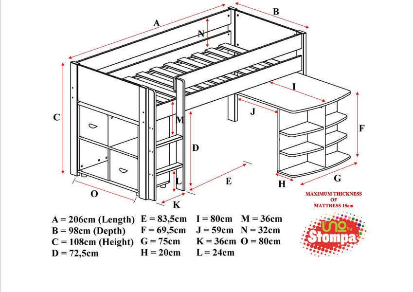Uno 1a White Midsleeper Frame Pullout Desk 1 X Cube Unit